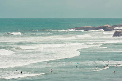 Wave Photograph - Surfers Lying In Ocean by Cindy Prins