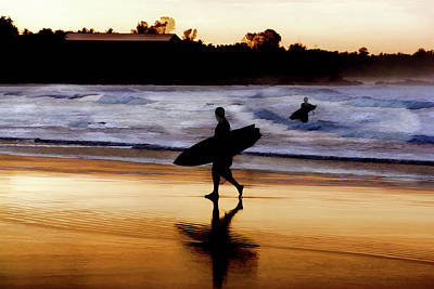 Surfers On The Beach At Sunset Art Print