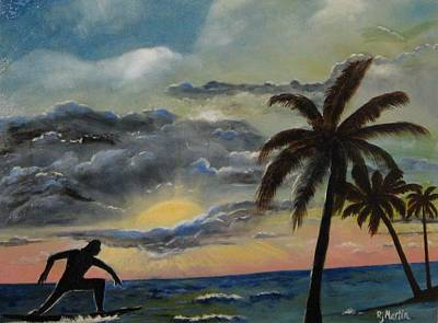 Surfers Sunset Art Print