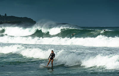 Photograph - Surfers With Big Waves At Manly Beach by Andrew Michael
