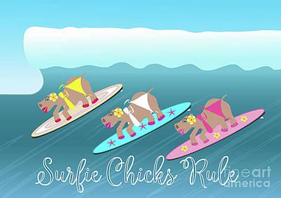Hippopotamus Digital Art - Surfie Chicks Rule by Beverley Brown