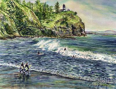 Painting - Surfin Buddies Waikiki Beach Washington by Cynthia Pride