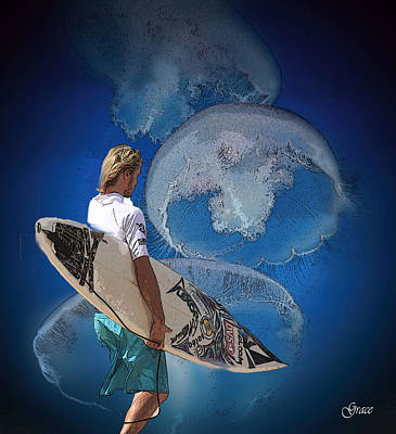 Surfers Mixed Media - Surfin  by Julie Grace