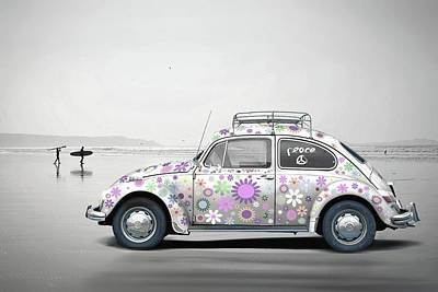 Wall Art - Mixed Media - Surfin Usa Vw Beetle by Mal Bray