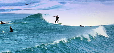Photograph - Surfing At Carmel Beach 2 by Joyce Dickens