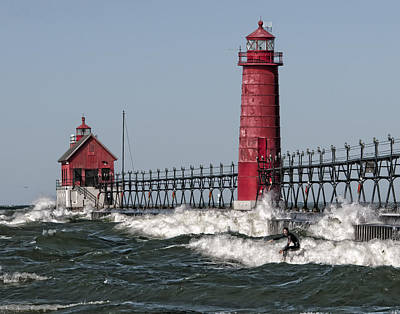 Surfing At Grand Haven Art Print by Wade Aiken