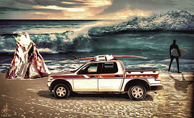 Digital Art - Surfing At Sundown by Pennie  McCracken