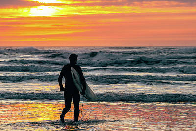 Photograph - Surfing At Sunset In The Pacific Ocean by Lost River Photography