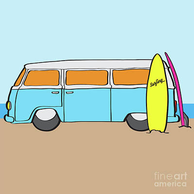 60s Drawing - Surfing Australia Vw Kombi Van by Jorgo Photography - Wall Art Gallery