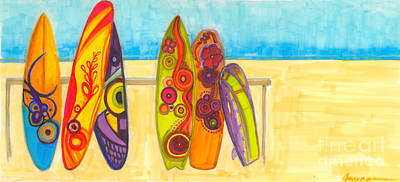 Blue And Red Painting - Surfing Buddies - Surf Boards At The Beach Illustration by Patricia Awapara