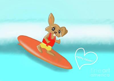 Digital Art - Surfing Bunny by Beverley Brown