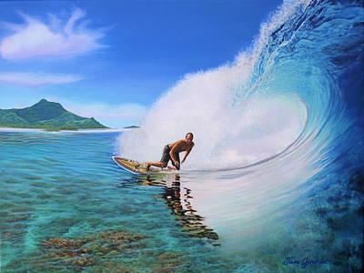 Surfing Dan Art Print