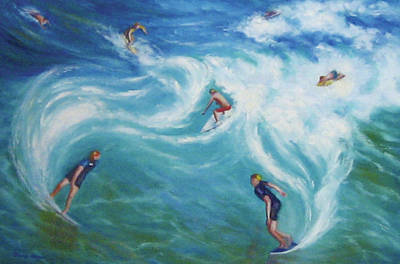 Surfing Art Print by Diane Quee