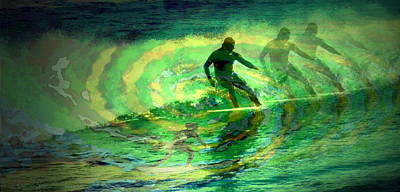Surfing For The Gold Abstract Art Print