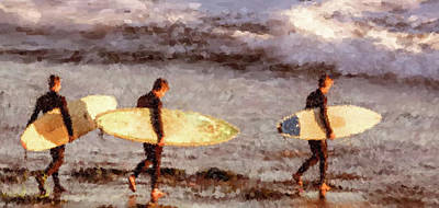 Painting - Surfing by Gary Grayson