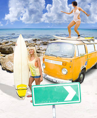 Art Print featuring the photograph Surfing Holiday This Way by Jorgo Photography - Wall Art Gallery