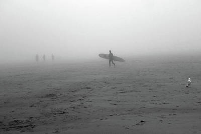 Photograph - Surfing Into The Fog Good Harbor Beach Gloucester Ma Black And White by Toby McGuire