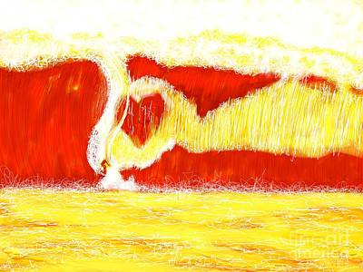 Beach Landscape Drawing - Surfing Love by Robert Yaeger