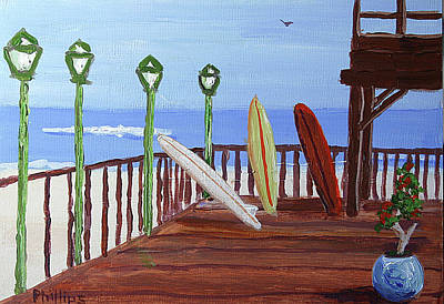 Surf The Rincon Painting - Surfing Montmarte by Bob Phillips