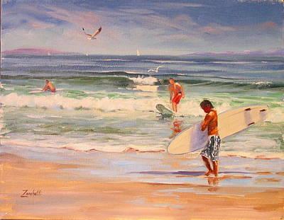 Surfing Nantasket Art Print by Laura Lee Zanghetti