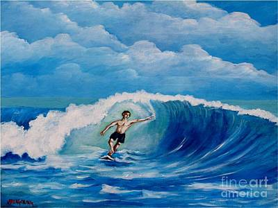 Surfing On The Waves Art Print