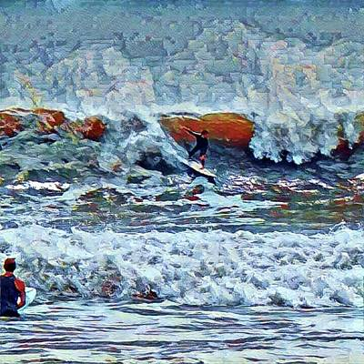 Digital Art - Surfing Rockaway Beach by Rita Tortorelli