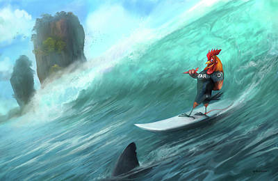 Digital Art - Surfing Rooster by Steve Goad