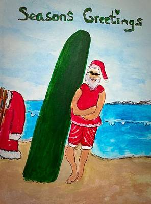 Painting - Surfing Santa by Anne Sands