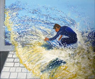 Surfing The Net Art Print by Bill Ogg