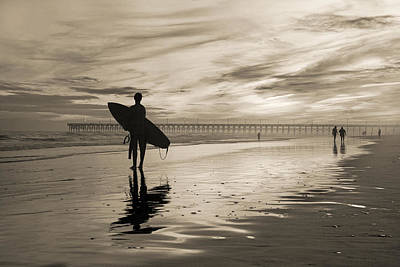 Surfing The Shadows Of Light Sepia Art Print