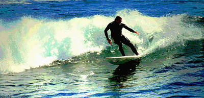 Photograph - Surfing The Small Waves At Lovers Point II Wc by Joyce Dickens