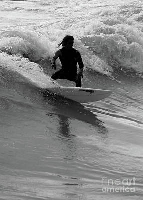 Photograph - Surfing The Waves Grayscale by Jennifer White