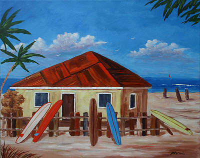 Bob Phillips Surf Art Painting - Surfing The West Indies by Bob Phillips