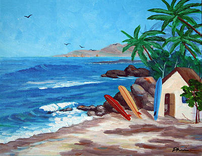 Surf The Rincon Painting - Surfing Trio by Bob Phillips