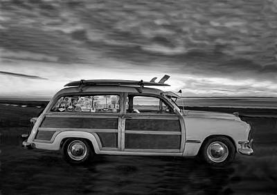 Photograph - Surfing Woodie Stationwagon Black And White by Sandi OReilly