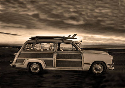 Photograph - Surfing Woodie Stationwagon Sepia by Sandi OReilly