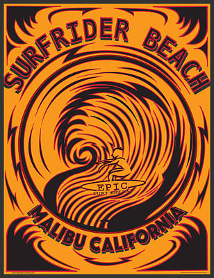 Digital Art - Surfrider Beach Malibu California by Larry Butterworth
