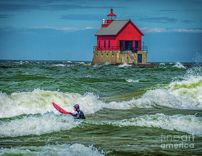 Photograph - Surf's Up At Grand Haven by Nick Zelinsky