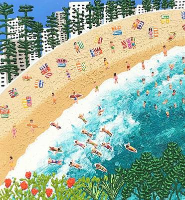 Painting - Surfs Up At Manly by Elizabeth Langreiter