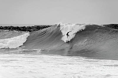 Art Print featuring the photograph Surf's Up Bw by Eddie Yerkish