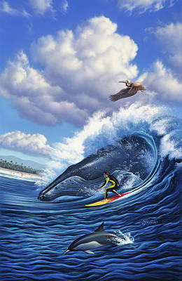Pelican Wall Art - Painting - Surf's Up by Jerry LoFaro