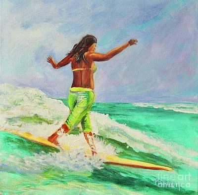 Catch A Wave Painting - Surfer Girl by Patricia Piffath