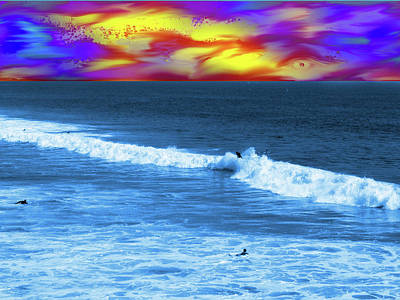 Ethereal Dreamy Ocean Photograph - Surfs Up Sunset by Abstract Angel Artist Stephen K