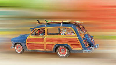 Old Woody Station Wagon Wall Art - Photograph - Surf's Up by Susan Rissi Tregoning