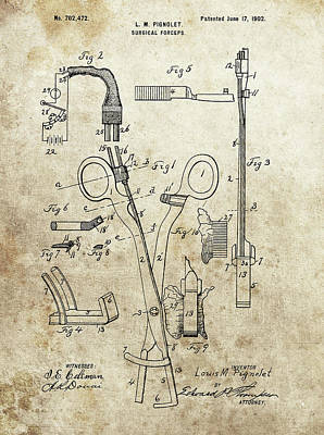 Drawing - Surgical Forceps Patent by Dan Sproul