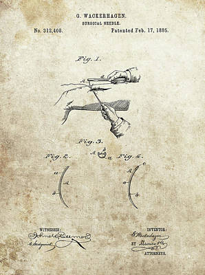 Drawing - Surgical Needle Patent by Dan Sproul