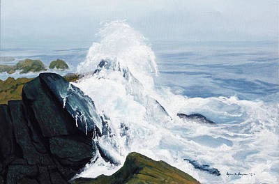Painting - Surging Waves Break On Rocks by Lynn Hansen