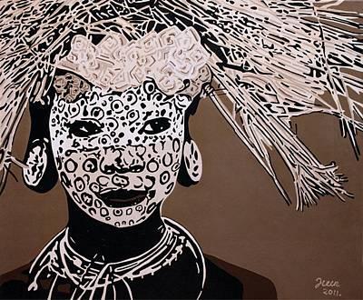African Art Painting - Surma Girl by Irene Jonker