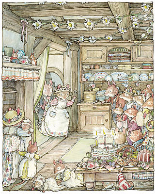Mouse Drawing - Surprise At Mayblossom Cottage by Brambly Hedge