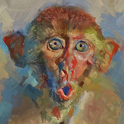 Digital Art - Surprise Monkey Impression by Yury Malkov